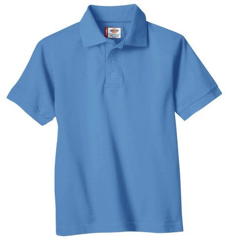 Dickies Big Boys' Short Sleeve Pique Polo Shirt, Light Blue, X-Large (18/20) (Collares Para Fotos)