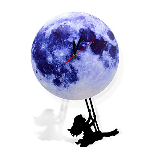 (GZGJ Blue Moon Swinging Pendulum Clock Astronomy Home Decor Funny Wall Clock Lunar Blue Moon Clock with Swinging Silhouette Pendulum)