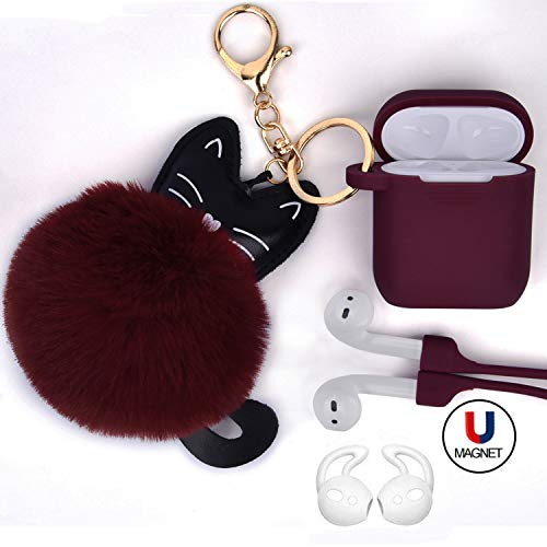 Airpods Case - Airspo Case for Airpods Silicone Case Cover Protective Skin with Fur Ball Keychain/Magnetic Strap/Ear Hooks for Apple Airpods (Burgundy)