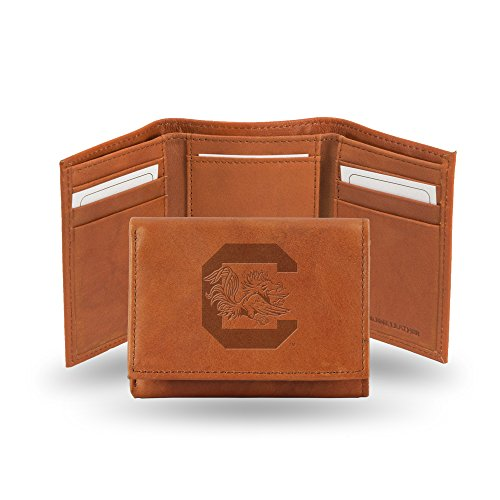 Rico Industries NCAA South Carolina Fighting Gamecocks Embossed Leather Trifold Wallet, Tan