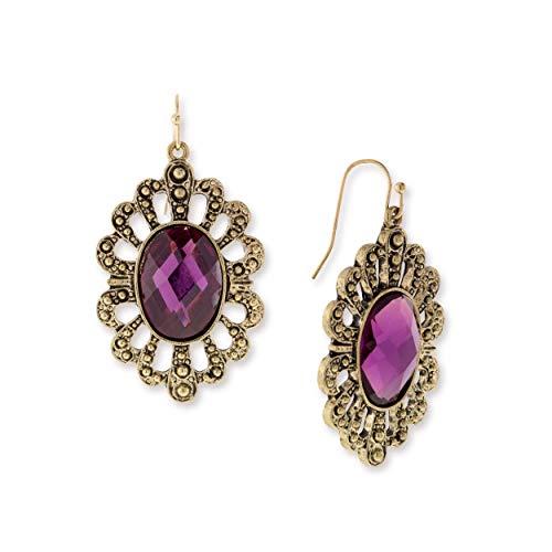 1928 Jewelry Antiqued Gold-Tone Royal Purple Drop Earrings ()