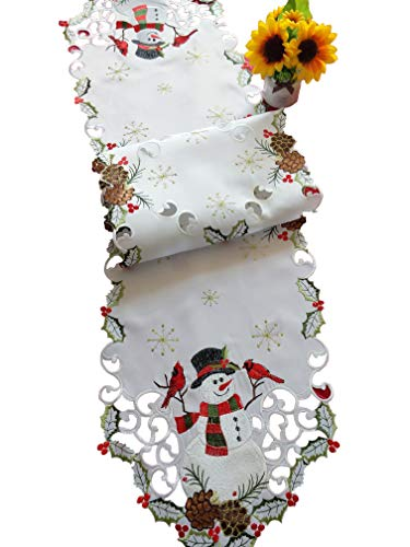 (Jamie's Arts Snowman & Cardinals Christmas Embroidered Handcut Table Runner 13x68 Inches)