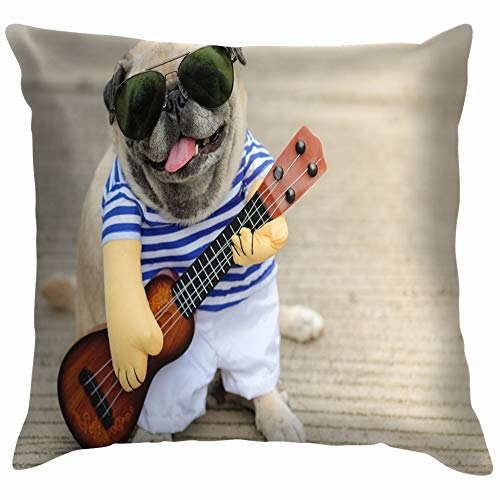 Indy Musician Guitarist Pug Dog Funny Animals Wildlife Funny Square Throw Pillow Cases Cushion Cover for Bedroom Living Room Decorative 20X20 Inch ()
