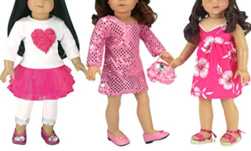 - 3 Pink Dress Set for 18 Inch Dolls Includes 6 Pieces, Sequin Pink Dress with Purse, Hawaiian Dress and Heart Tee, Pink Skirt and Leggings