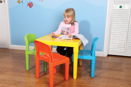 tot tutors kids 39 secondary table and 4 chair set plastic. Black Bedroom Furniture Sets. Home Design Ideas