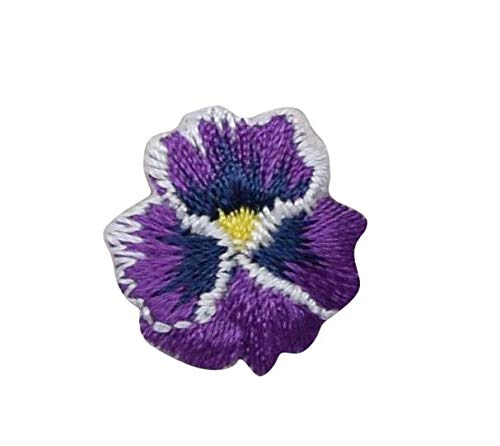 (Pansies - Violet - Pansy Flower - Small Mini - Iron on Applique/Embroidered Patch)