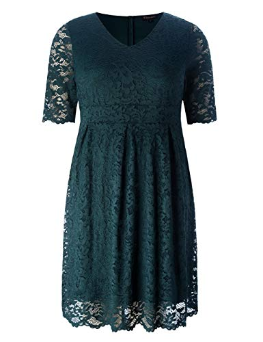 Chicwe Women's Plus Size Elegant Scalloped Lace Dress – Cocktail Evening Event Dress Antique Green 2X