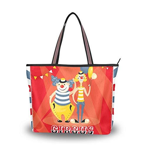 JERECY Funny Circus Shoulder Tote Bag Top Handle Polyster Shopping Handbag for Women Girls