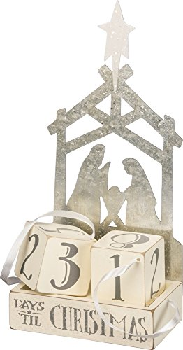 Primitives by Kathy Christmas Countdown Wood Blocks Set, Nativity, 3 Piece ()