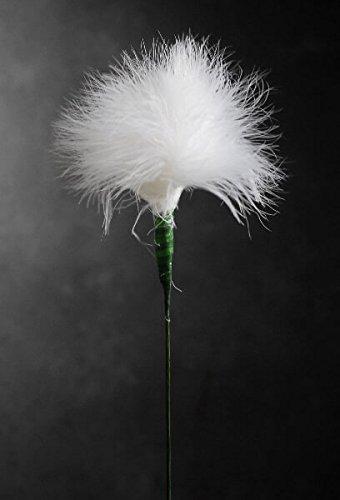 White Marabou Feather Flower 20