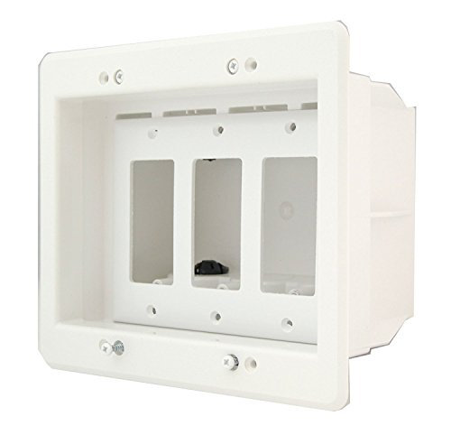 (iMBAPrice DVFR3W-1 (3-Gang) Recessed Electrical Outlet Mounting Box w/Paintable Wall Plate, 1-Pack)