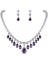 Ever Faith Silver-Tone Full CZ Elegant Water Drop Dangle Necklace Earrings Set