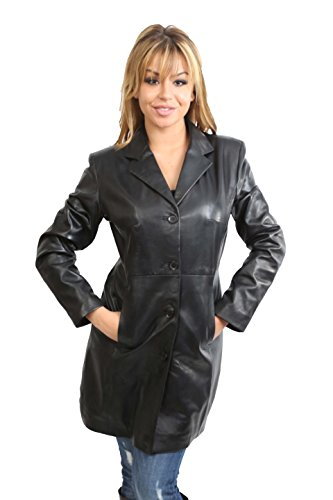 Of En Femme Plain Classique Long Cuir Noir Avec F99 Manteau 4 Le Leather 3 House Souple Longueur dqHUAd