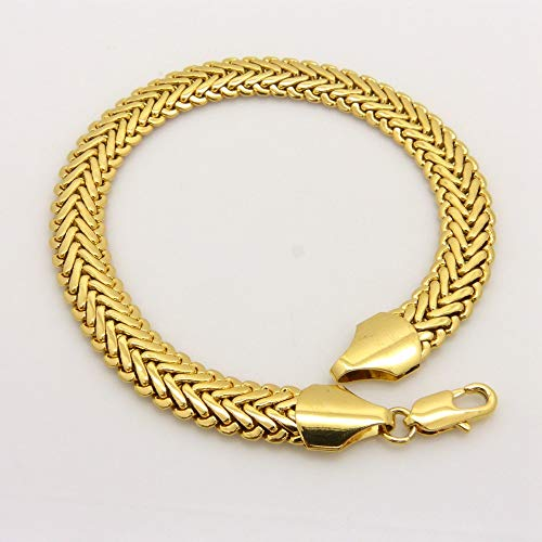 Herringbone Bracelets | Unisex Chain Yellow Gold Filled Wrist Bracelet (22cm Long)