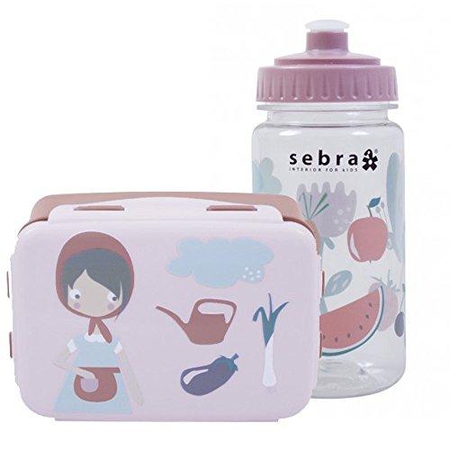 Sebra Outdoor Geschirr-Set Brotdose mit Trinkflasche Farm, Mädchen BPA-frei NEU