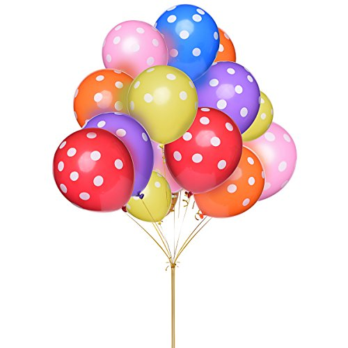 LeeSky 100 Pack 12 Inches Polka Dot Balloons Bright Festive Colors for Party Decoration(Assorted (Standard Helium Balloon Kit)