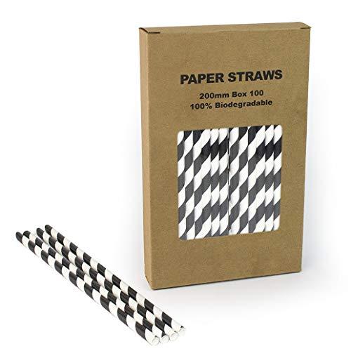 Black Striped Paper Straws Bulk, Black and White Stripe Paper Drinking Straws Biodegradable for Halloween Birthday Party, Coffee Soda Beverage Cafe Restaurant Cake Pop Sticks (Black Stripe, 100)