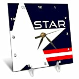 3dRose Alexis Design - America - White Star on blue background. Text STAR, red and white stripes - 6x6 Desk Clock (dc_272416_1)