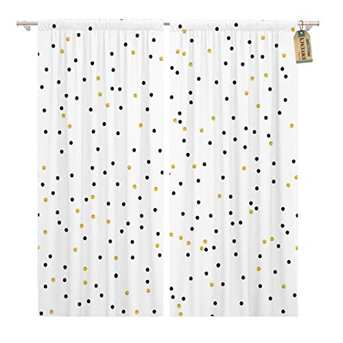 Golee Window Curtain Cute Kids Polka Dot Colorful Gold and Solid Black Home Decor Rod Pocket Drapes 2 Panels Curtain 104 x 84 inches - Rod Dot Polka
