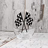 Checkered Flags Wine Glass, Wine Glass, Checkered Flags Wine Glass, Racing Decor, Nascar Gift, Racing Gift, Dirt Track Racing, Home Bar, Gift for Race Fan,Wine Gift
