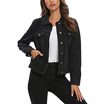 Cantonwalker Trucker Jacket Women Vintage Washed Long Sleeve Classic Jean Jacket D20 at Women's Coats Shop