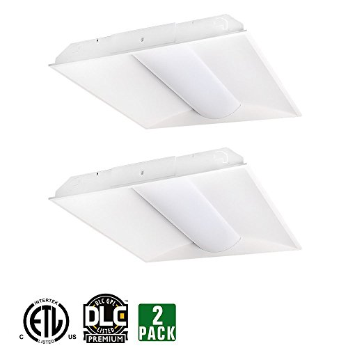 Hykolity 2ft x 2ft Architectural Troffer Design LED Panel Light Commercial Drop Ceiling Dimmable Light Fixture 32W [64W Fluorescent Replacement] 4160 Lumens 5000K DLC Premium 4.2 Qualified-Pack of (Dimmable Fluorescent Light Fixtures)