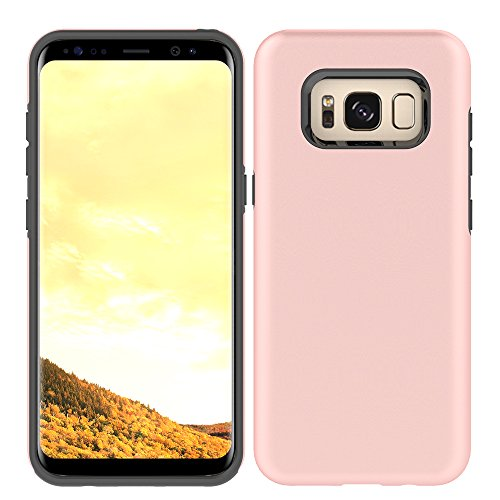 Price comparison product image Galaxy S8 Plus Case, HLCT Beautiful Design Slim Fit Thin, Interior TPU Bumper & Hard PC Back, Shock-Absorption Hybrid Dual-Layer Cover (Rose Pink)