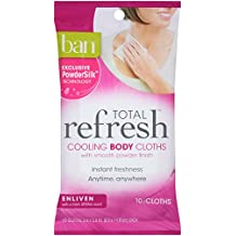 Ban Total Refresh Cooling Body Cloths, Enliven, 10 Count