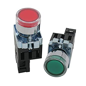 Taiss 2pcs 22mm 1 No 1 Nc Green Red Led Light Momentary