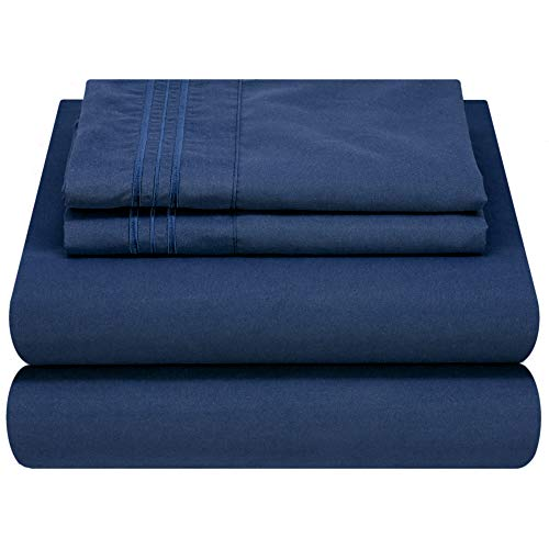 Mezzati Luxury Bed Sheet Set - Soft and Comfortable 1800 Prestige Collection - Brushed Microfiber Bedding (Blue, Twin Size)