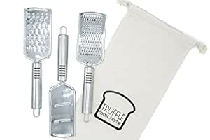 Set of 3 Professional Stainless Steel Graters for Cheese, Vegetables, Chocolate, Protective Fabric Bag