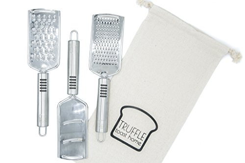 CLOSEOUT Set of 3 Professional Stainless Steel Zester-Graters for Cheese, Vegetables, Citrus & Chocolate, with Fabric Bag - Coarse, Fine & Mandolin/Slicer