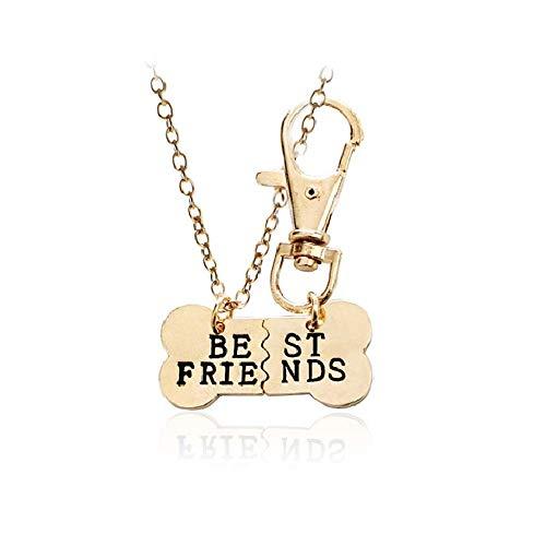MJartoria Dog Bone Best Friends BFF Friendship Necklace Keychain Jewelry Set of 2 (Gold)