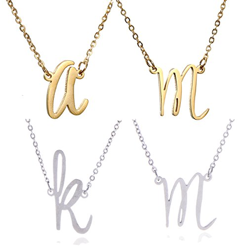 AOLO Initial Necklace M Letter Means Mother Mermory Miss etc