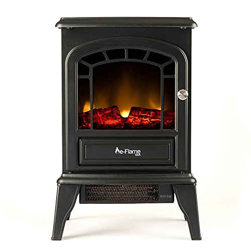 Aspen Portable Free Standing Electric Fireplace Stove by e-Flame USA – 23-inches Tall – Matte Black – Features Heater and Fan Settings with Realistic and Brightly Burning Fire and Logs (Indoor Lighter Garage)