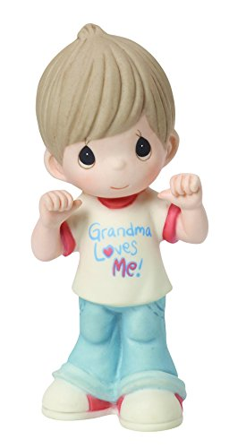 (Precious Moments, Grandma Loves Me, Bisque Porcelain Figurine, Boy, 154033)