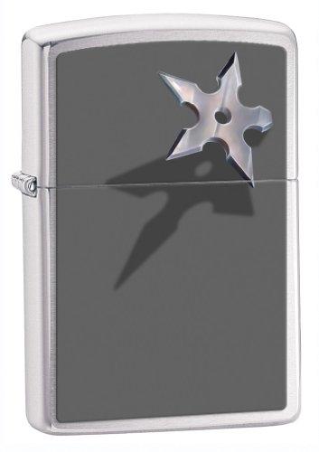(Zippo Lighter BS Star, Brushed Chrome)