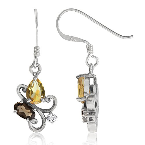 Natural Citrine Smoky Quartz and White Topaz 925 Sterling Silver Victorian Style Dangle -