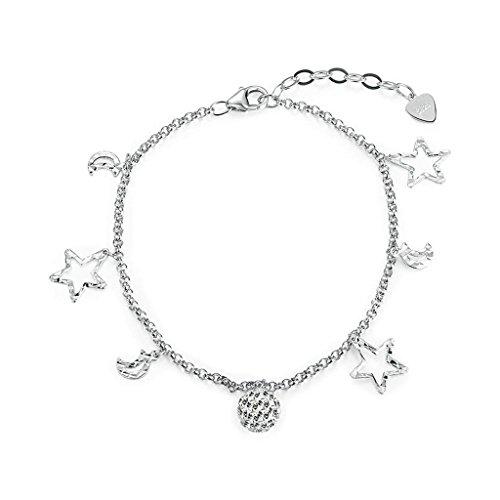 925 Sterling Silver Bracelet, Women's Charm Bracelet Mon And Star Silver - Vs Plastic Polymer