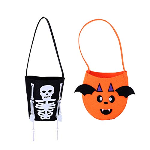 Yaobabymu Halloween Tote Bags Pumpkin Candy Bags Halloween Costume Party Bags Trick or Treat Goody Bags for Kids Pack of -