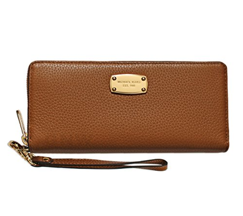 Michael Kor Jet Set Travel Continental Zip Around Wallet Wristlet Acorn Leather ()
