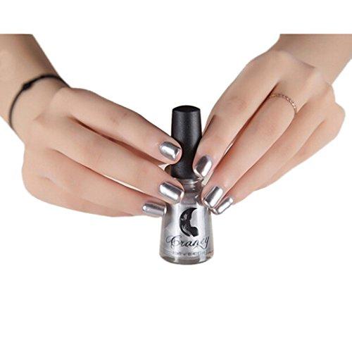 Inverlee Mirror Effect Metallic Nail Polish Shiny Metal Varnish Nail Polish Manicure Decoration (Metallic Nail)