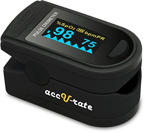 Zacurate Pro Series 500D Deluxe Fingertip Pulse Oximeter Blood Oxygen Saturation Monitor with silicon cover, batteries and lanyard (Mystic Black)