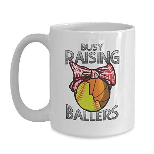 Mother's Day Softball Basketball Mom Gift - Busy Raising Ballers - 15 oz White Coffee | Tea Mug