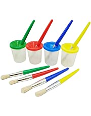 Assorted Colored Paint Cups Brushes Paint Color Mixing Cup Spill-Proof Graffiti DIY Painting Brushes Cups 8PCS
