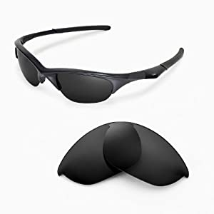 Walleva Replacement Lenses for Oakley Half Jacket Sunglasses - Multiple Options Available (Black - Polarized)