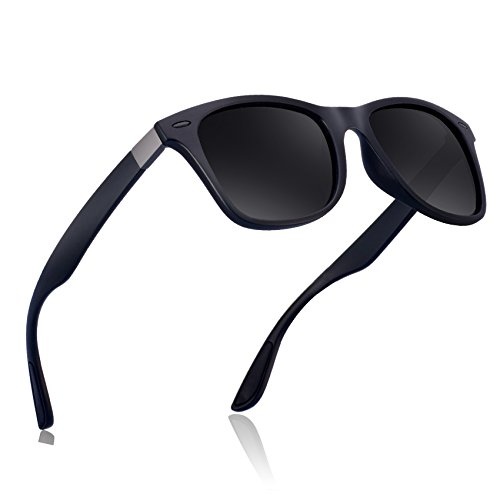 wearpro Wayfarer Sunglasses for Men Vintage Polarized Sun Glasses WP1050 (BK/BK_nail, 2.13) by wearpro
