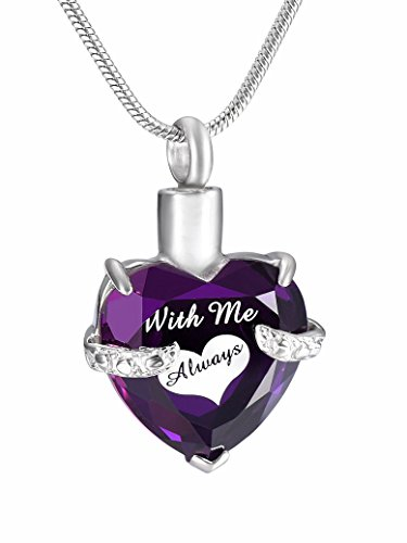 Infinity Keepsakes | With Me Always Cremation Jewelry Urn Necklace for Ashes with Velvet bag and Funnel Kit (Purple)
