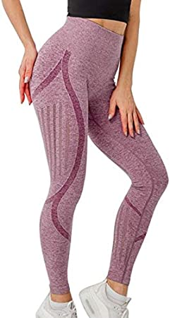 Leggings sin Costuras sexys para Mujer Pantalones de Yoga de Cintura Alta de Malla Pantalones Deportivos para Correr Pantalones Casuales - Vino Rojo, M