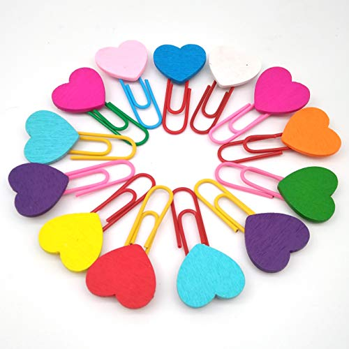LNKA 100 Pieces Colored Paper Clips 33mm Assorted Colors Love Bookmark Binder Clips Office Paper Clamps (Heart Paperclip Bookmark)